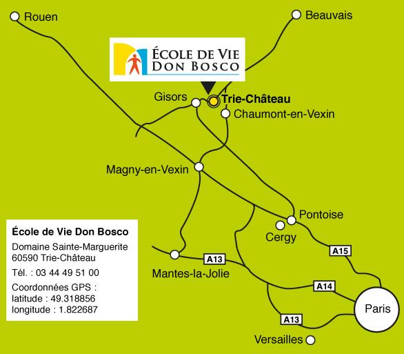 plan d'accès à l'École de Vie Don Bosco